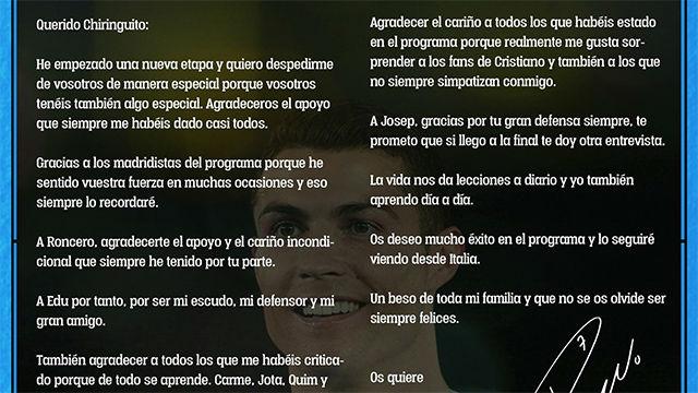 La sorprendente carta de Cristiano Ronaldo a El Chiringuito