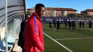 Yerry Mina, en el entrenamiento