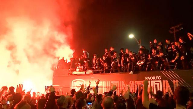 Así fue la espectacular celebración de la afición del PAOK tras ganar la liga griega