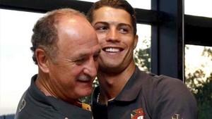 Cristiano Ronaldo, junto a Scolari