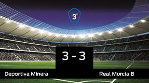 La Deportiva Minera no pudo conseguir la victoria frente al Real Murcia B (3-3)