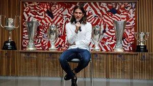 Filipe Luis, en su despedida como jugador del Atlético
