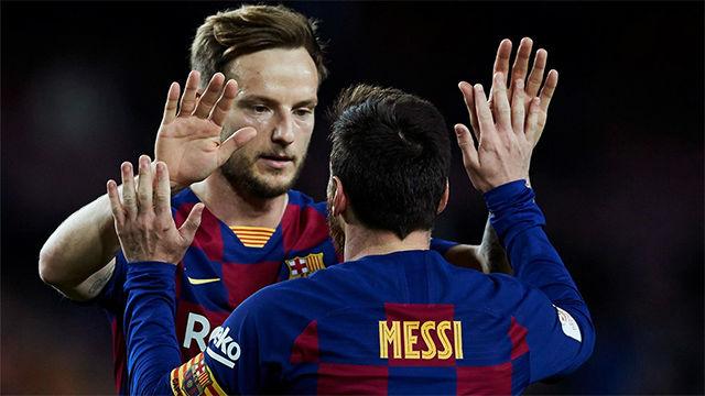 Gran pase de Rakitic entre líneas para Messi y fabricar así el quinto al Leganés
