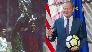 A la izquierda, Helmuth Duckadam levanta la Copa de Europa tras la final Steaua-Barça de 1986. A la derecha, Donald Tusk, presidente del Consejo Europeo