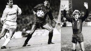 A la izquierda, Martín Vázquez y Romerito durante el Barça-Real Madrid de la Liga 1988-89. A la derecha, Cleo en su presentación como futbolista del FC Barcelona en 1982
