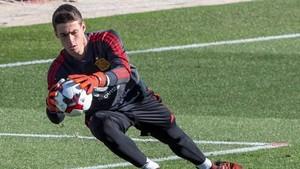 Kepa durante el entrenamiento con la selección española