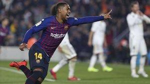 Malcom celebró con rabia su gol ante el Real Madrid