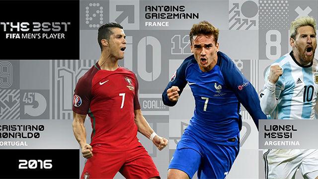 Messi, Ronaldo o Griezmann, uno de ellos será The Best