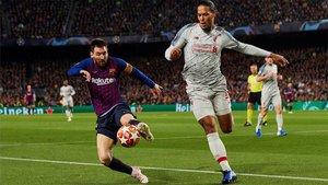 Messi y Van Dijk, la temporada pasada en el Camp Nou