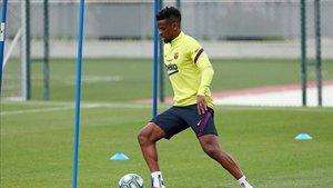 Nelson Semedo, en un entrenamiento del FC Barcelona