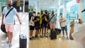 Sarasa se fotografió con unos aficionados en el aeropuerto de El Prat