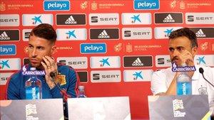 Sergio Ramos, en su conferencia de prensa en Zagreb junto a Luis Enrique
