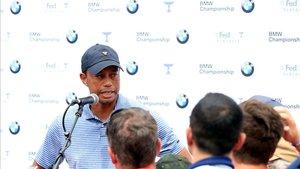 Tiger responde a las preguntas de los periodistas en Medinah