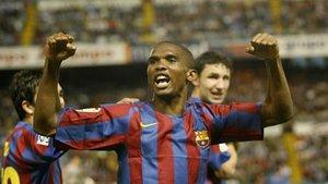La alegría de Samuel Eto¿o después del 0-1. Al final del partido, la euforia azulgrana se desbordó sobre el césped de Balaídos