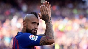 Arturo Vidal fue uno de los grandes protagonistas de la presentación del FC Barcelona