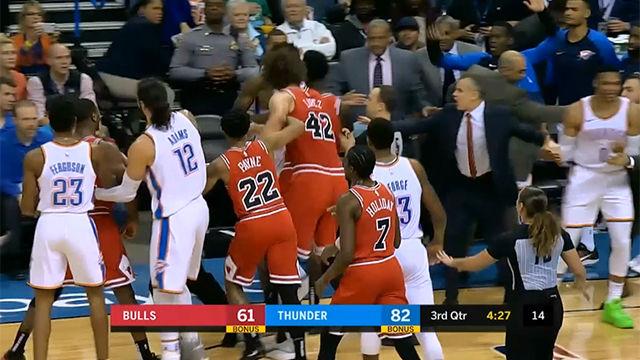 La gran pelea en el partido de los Bulls