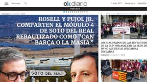 Imagen de la información publicada por OK Diario sobre la prisión de Soto del Real