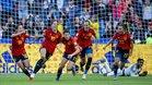 Las españolas celebraron por todo lo alto su debut victorioso en el Mundial femenino