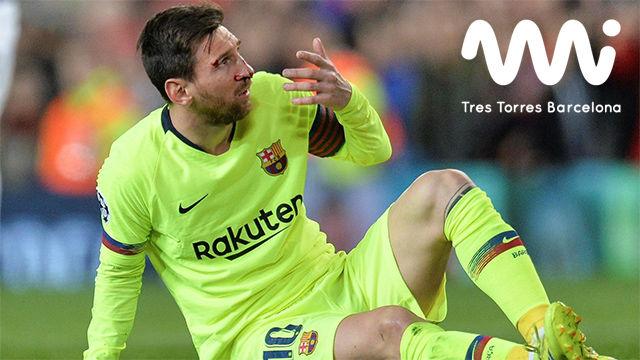 Leo Messi sufrió un fuerte golpe en la nariz