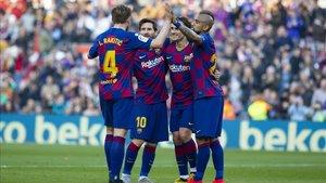 Messi celebró hasta cuatro goles ante el Eibar