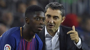 Ousmane Dembélé, instantes antes de debutar con el FC Barcelona