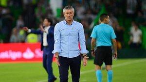 Setién, durante el Valencia-Betis del pasado año