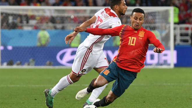 Thiago Alcántara en el España-Marruecos durante el MUndial de Rusia 2018