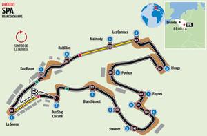 El circuito de Spa Francorchamps del GP de Bélgica de F1