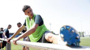 Clément Lenglet durante un entrenamiento de pretemporada con el FC Barcelona