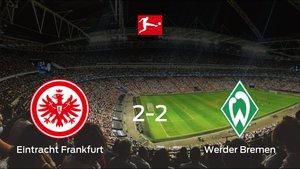 El Eintracht Frankfurt y el Werder Bremen logran un punto después de empatar a dos
