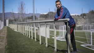 Jordi Alba, en La Ciudad del Fútbol de Las rozas, donde está concentrado con la selección