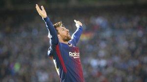 Messi, en su última visita al Bernabéu, celebró así el gol que anotó después de convertir un penalti