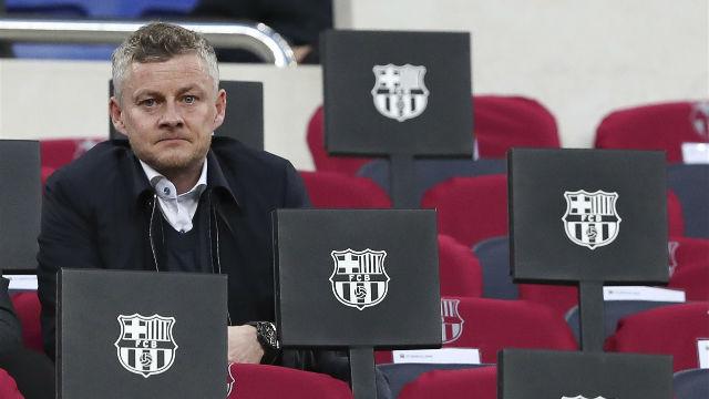 Solskjaer estuvo presente en el Camp Nou para ver al Barça jugar ante el Atlético