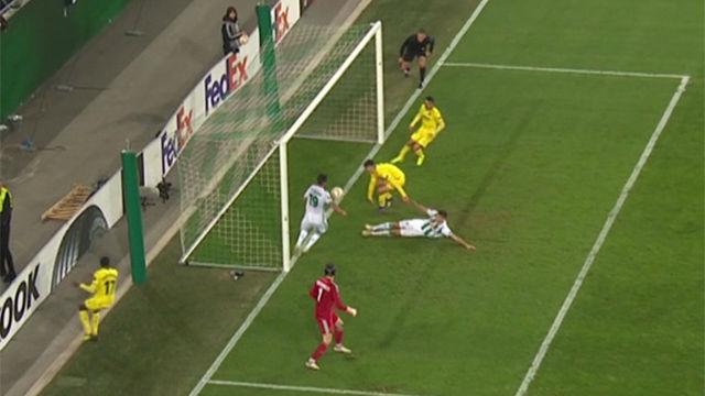 El Villarreal la tuvo en los últimos 20 segundos: el Rapid Viena la sacó en línea de gol