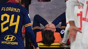 Zaniolo no pudo contener las lágrimas mientras abandonaba el terreno de juego