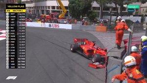 Esta es la imagen del Ferrari de Sebastian Vettel tras el impacto durante la sesión de entrenamientos libres del GP de Mónaco