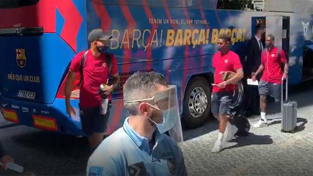 Así fue la llegada del FC Barcelona a su hotel en Lisboa