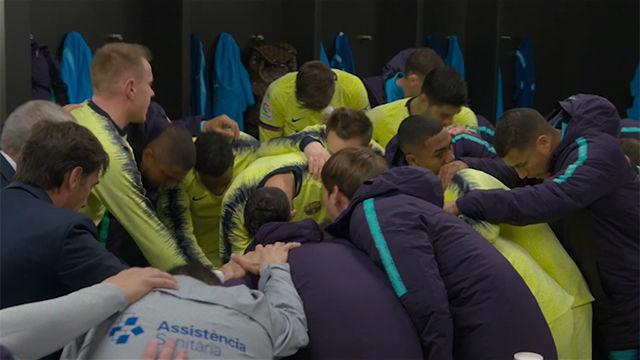 ¿Cuál es el cántico de la plantilla del Barça antes de los partidos?