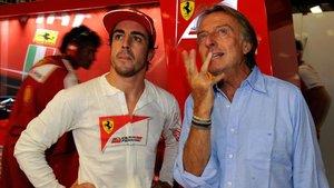 Fernando Alonso con Montezemolo en boxes
