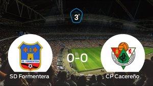 El Formentera y el Cacereño empatan en la ida de los cuartos de final de los playoff (0-0)
