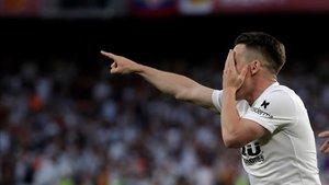 Gameiro, en un partido con el Valencia