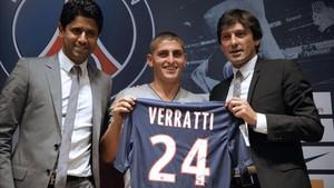Marco Verratti, el día de su presentación con el PSG