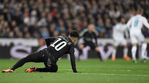 Neymar, en el partido de ida en el Santiago Bernabéu