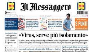 La portada de Il Messaggero recogiendo la preocupación del Calcio por la Covid 19