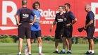 El primer entrenamiento de Griezmann, con el Barça