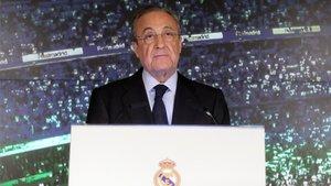 Florentino Pérez, durante su comparecencia
