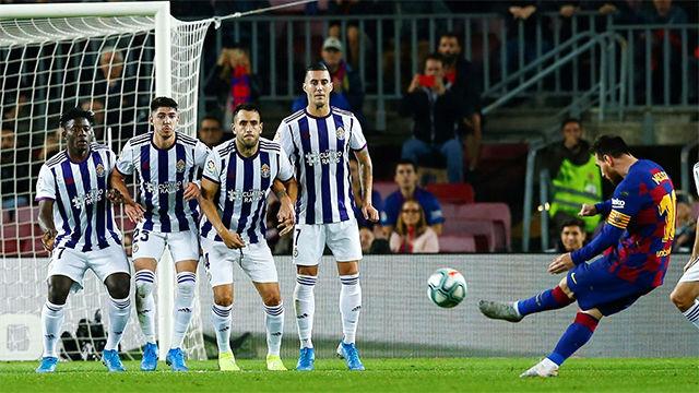 El gol 50 de falta de Messi fue otra obra de arte