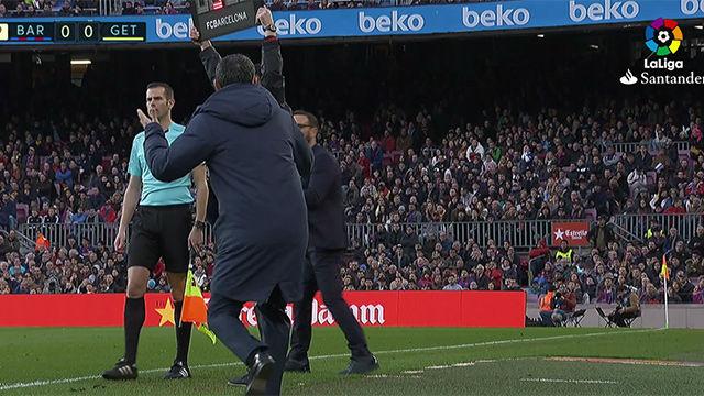 LALIGA | FC Barcelona - Getafe (0-0): Valverde enfureció tras ver el tiempo añadido