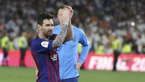 Messi agradeciendo el apoyo a la afición tras la final