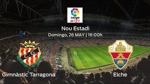 Previa del partido: el Gimnàstic Tarragona recibe en el Nou Estadi al Elche